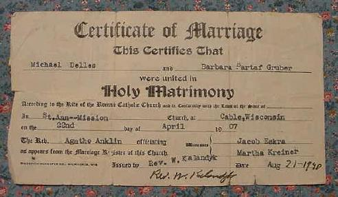 Michael and Barbara's marriage certificate
